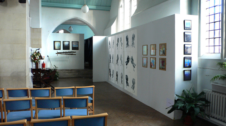 l-r: installation; Jane Lee / drawing; Jenny Purrett / mixed media, framed; Phil Evans / 2010